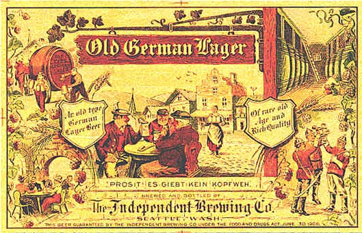 "Scenes from old German towns including men sitting around a wood table outside and a bar maid brining beer. ""Old German Lager"""