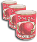 "3 cans of peaches with a drawing of a peach and the words ""Orego"" and ""Peaches"" on front."