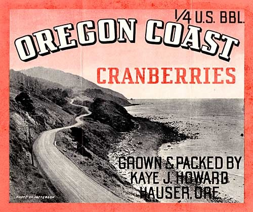 "Black and white image of winding road along oregon coast. Reads ""Oregon Coast Cranberries"""