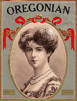 "Drawing of sophisticated lady wearing pearls in an oval frame. The top reads ""Oregonian."""
