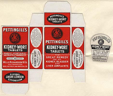 "Flattened box of Pettingill's Kidney-wort tablets shows branding: ""Great remedy for all kidney, bladder and liver complaints"""