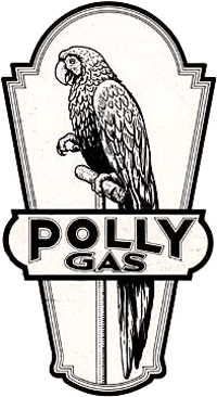 "Drawing of parrot with the words ""Polly Gas"" below."