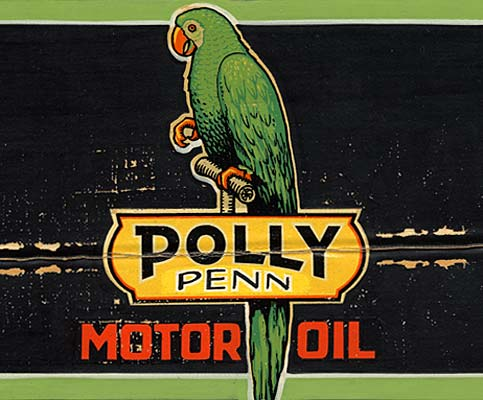 "Drawing of parrot with the words ""Polly Penn Motor Oil"" below."