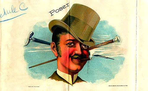 Drawing of man in top hat, wearing a monocle and smoking cigar.