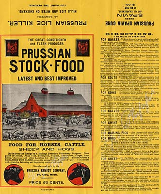 "Drawing of animals in a farm yard with red barn in background. ""Prussian Stock-Food latest and best improved."""