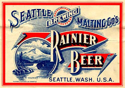 "Drawing of Mt. Rainier with a water body in front. Label reads ""Seattle Brewing and Malting Co's Rainier Beer"""