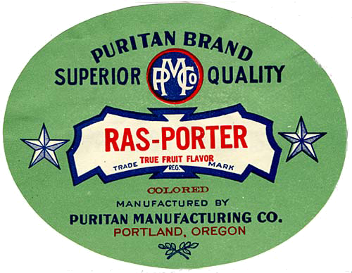 "Round label with 2 stars flanking a banner. Banner reads ""Ras-Porter true fruit flavor trade mark"""