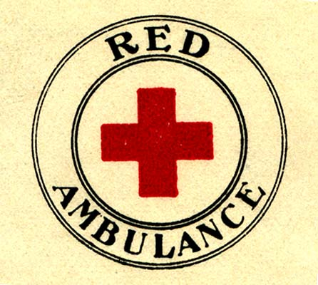 "Red cross inside circle with ""Red Ambulance"" around outside."