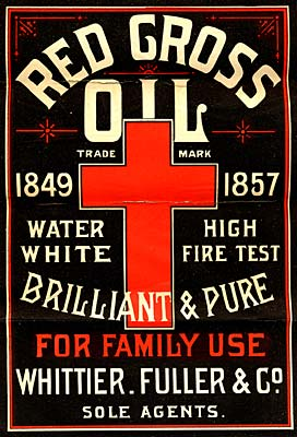 Red cross in center. Reads: Red Cross Oil trade mark 1849 to 1857 Water White High Fire Test Brilliant & Pure. For Family Use.