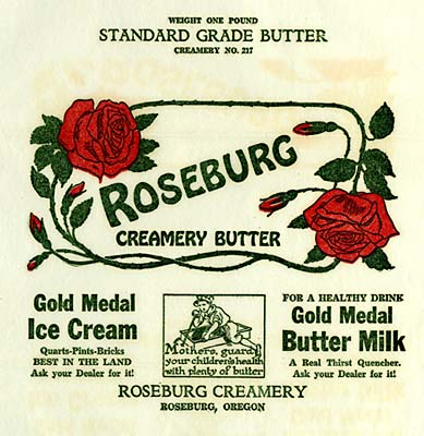"Drawing of roses and vines surround the words ""Roseburg creamery butter"""