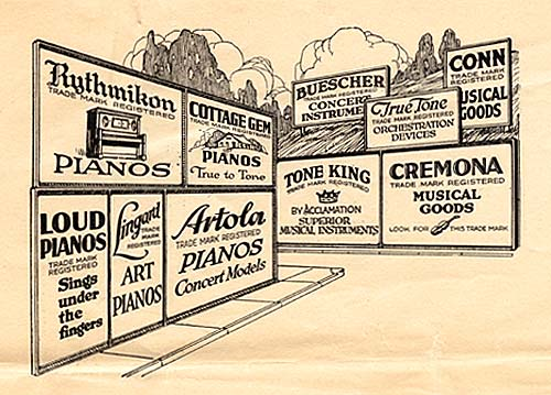 Drawing of 10 billboard type signs for various Rudolph Wurlitzer brands.