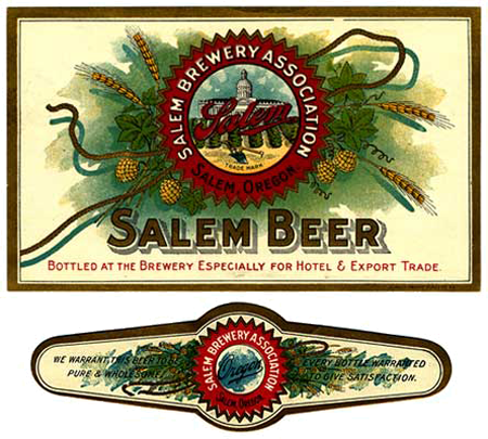 Label has drawing of capitol building in center, hops adorn the side.