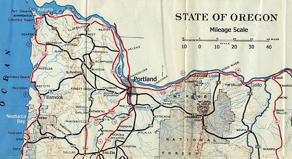 Map of upper section of Oregon including Portland, Mt Hood, Tillamook, Nestucca Bay and Astoria.