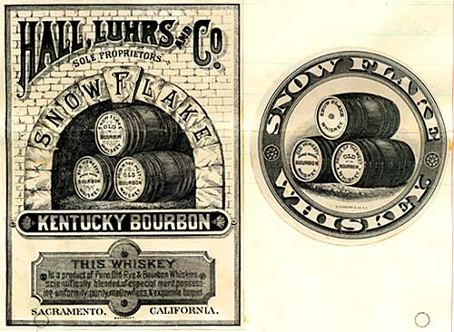 "Drawing of barrels of bourbon. Reads ""Hall, Luhrs and Co., Snow Flake, Kentucky Bourbon"""