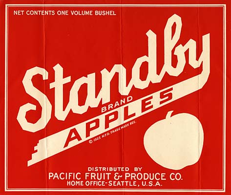 "Plain red and white graphic with the outline of an apple and the stylized words ""Standby Brand Apples"""