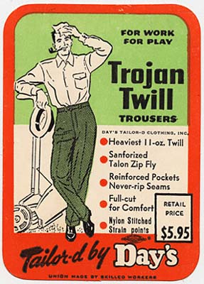 "Drawing of man in trousers standing next to push lawn mower & wiping brow with cloth. ""Trojan Twill Trousers For Work For Play"""