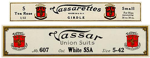 Two labels: 1 for Vassarettes Girdle, 1 for Bassar Union Suits. Both have Red shield with lion drawn on top as part of logo.