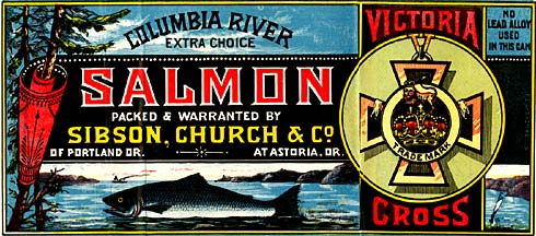"Drawing of salmon in river, evergreen trees on right. Banner reads ""Salmon packed & warranted by Sibson, Church & Co."""