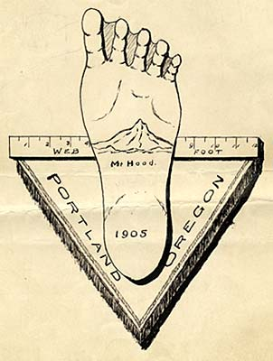 "Drawing of foot with webs between toes. Mt. Hood is drawn on bottom of foot with date 1905. A ruler behind foot reads ""Web Foot"""