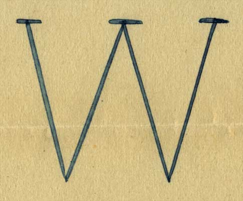 The letter W with serifs at the top of the W drawn on a piece of paper.