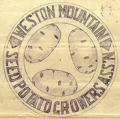 "Drawing of 3 potato in the center of a cirlce. Around circle reads ""Weston Mountain Seed Potato Growers Ass'n"""