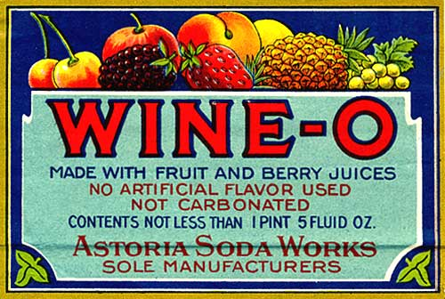 "Drawing of fruits with banner below reading ""Wine-O made with fruit and berry juices no artificial flavor used not carbonated"""