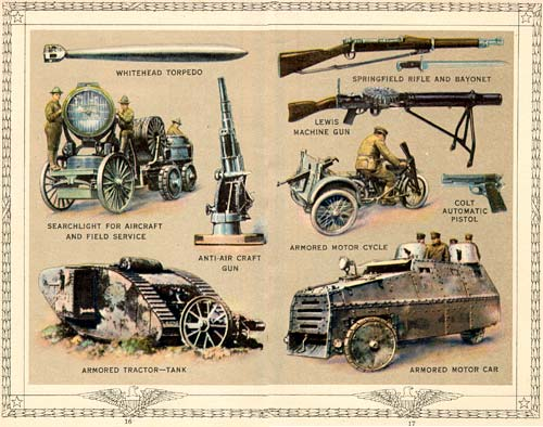 Drawings of American weopns including a torpedo, anti-air-craft-gun, rifle, machine gun, motor cycle, pistol, tank, armored car