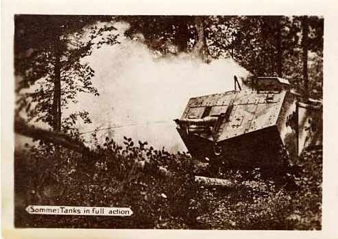 A tank shown in action in a wooded area.