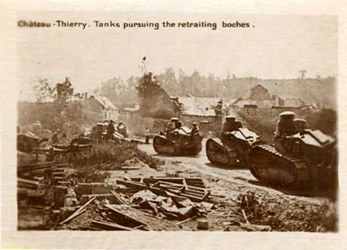 Photo of tanks in village during world war I