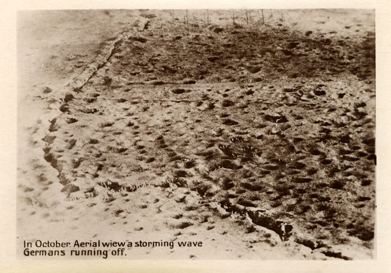 Aerial view of battlefield with trench lines.