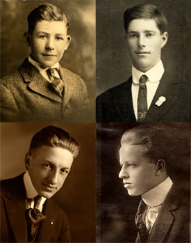 4 photos of young men who went to fight in WWI.