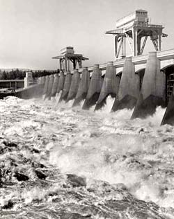 Photo of Bonneville dam shows water raging through the dam.