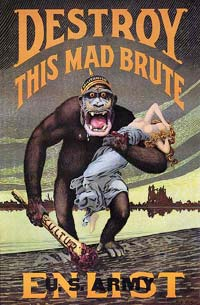 Germany depicted as a large, dangerous ape with a club carrying away a woman. The woman is meant to represent lady libery, U.S.