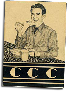 "Drawing of man eating at a table with the letters ""CCC"" underneith."