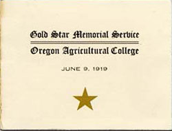 """Gold Star Memorial Service, Oregon Agricultural College, June 9, 1919"" with a gold star below words."