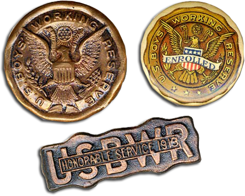 "3 bronze-gold colored badges. The 2 round badges depict eagles with ""U.S. Boys Workin Reserv."" The 3rd reads ""Honorable Service"""