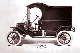 Drawinig of 1912 Ford Model T with canopy