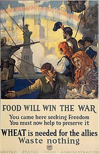 """Food will win the war, you came here seeking freedom, you must now help to preserv it, WHEAT is needed for the allies"" poster"