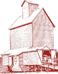 Drawing of grain warehouse with front doors open and horses with a wagon attached.