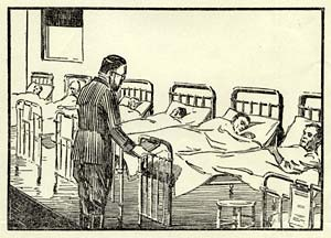 Line drawing of 6 men in hospital beds with 1 doctor looking over them.