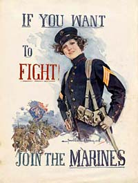 "WWI poster reads ""If you want to fight! Join the Marines."" Drawiing of woman in military uniform."
