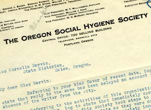 "Letter head reads ""The Oregon Social Hygiene Society, central office, 720 Selling Building, Portland, Oregon."""