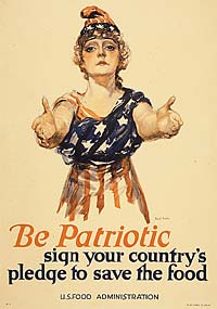 """Be Patriotic, sign your country's pledge to save the food"" with drawing of woman in american flag dress."