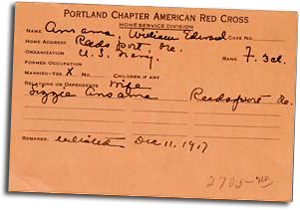 Portland Chapter American Red Cross card dated December 1917