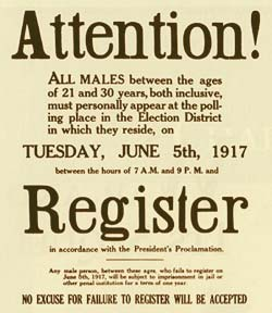 Poster informing that all males between the ages of 21 and 30 year, both inclusive, must register for the draft.