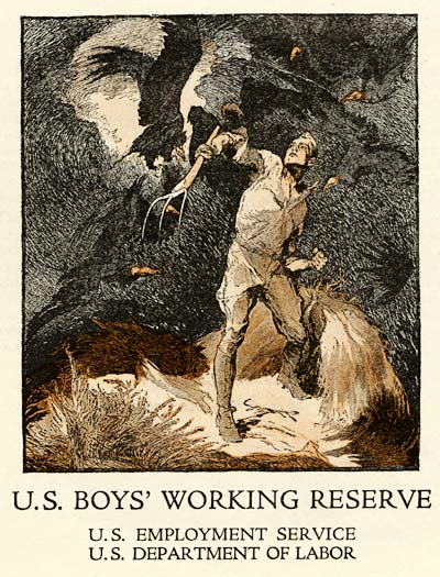 Drawing of heroic figure of boy in the Working Reserve holding a pitchfork and working hard in a field.