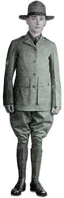 Young man shown in uniform with hat, jacket, pants and knee high boots.