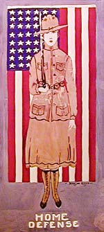"Color illustration of woman in military outfit carrying rifle. American flag in background. ""Home Defense"" written below."