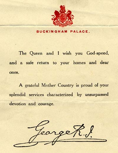 "Thanks from the British king reads, ""The Queen and I wish you God-speed, and a safe return to your homes and dear ones."""