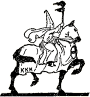 Black and white drawing of klan person on a horse.